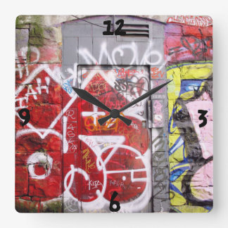 Backstreet Alley Graffiti Square Wall Clock