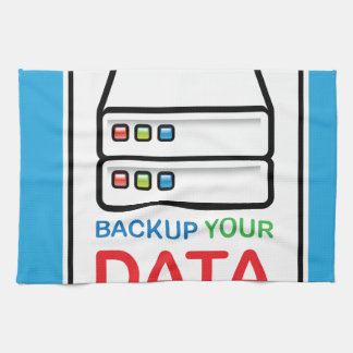 Backup Your Data Sign with hard drives Hand Towel