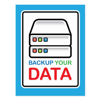 Backup Your Data Sign with hard drives Postcard