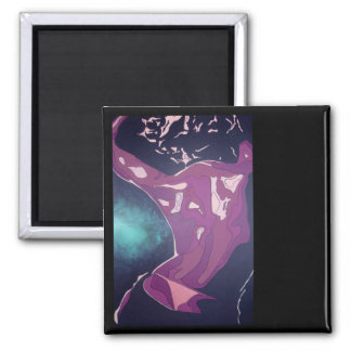 Backview of A Young Woman Dancing In A Night Club 2 Inch Square Magnet