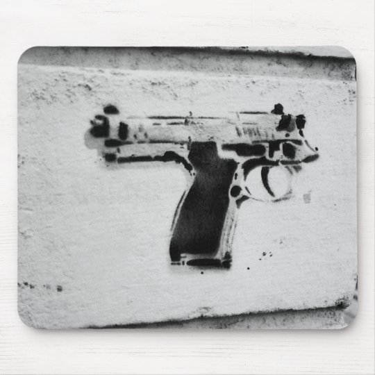 backwards gun stencil graffiti art mousepad