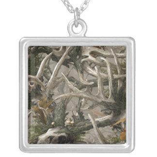 Backwoods deer skull camo silver plated necklace