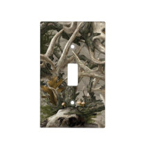 Backwoods woodland deer head and antlers light switch cover