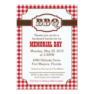 Backyard Barbecue, BBQ Invitation, Rustic Country Card