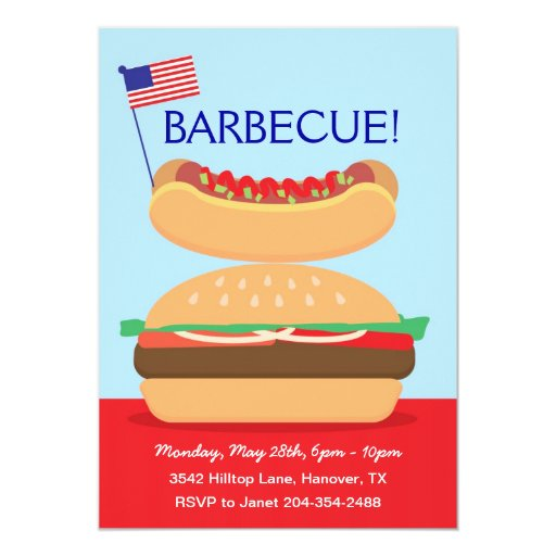 Backyard Barbecue Party Invitations