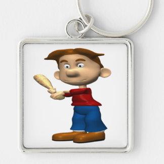 Backyard Baseball Silver-Colored Square Keychain