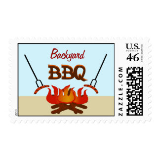 Backyard BBQ Get Together Party Postage