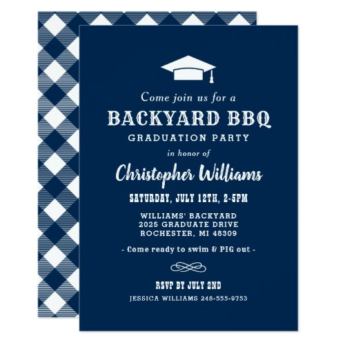 Backyard BBQ Graduation Party  Navy Blue Invitation