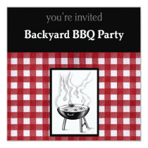 "Backyard BBQ Invitation 5.25"" Square Invitation Card"