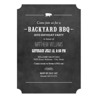 "Backyard BBQ Invitation | Black Chalkboard Design 5"" X 7"" Invitation Card"