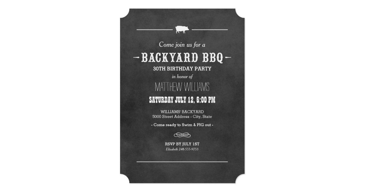 Backyard Bbq Wedding Invitations: Black Chalkboard Design