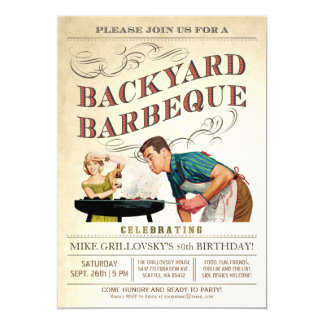Backyard BBQ Invitations | Vintage Classic V.3