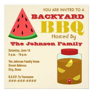 Backyard BBQ Watermelon & Sweet Tea Invitation