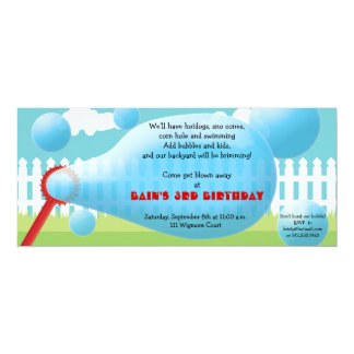 "Backyard Blowout- Bubbles Kids' Birthday Party 4"" X 9.25"" Invitation Card"