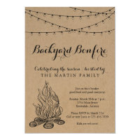 Backyard Bonfire Fall Party | Rustic Kraft Paper Invitation