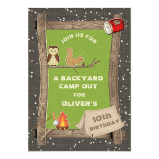 Backyard Camp Out Birthday Party 5x7 Paper Invitation Card
