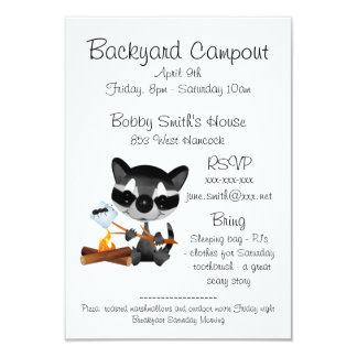 Backyard Campout With Cute Raccoon Card
