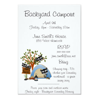 Backyard Campout With Raccoon template Card