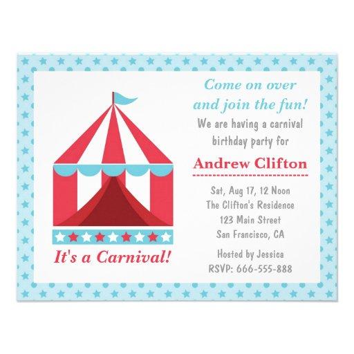 Backyard Carnival Birthday Party Theme for kids Custom Invitation