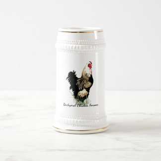 Backyard Chicken Farmer with Rooster Design Beer Stein