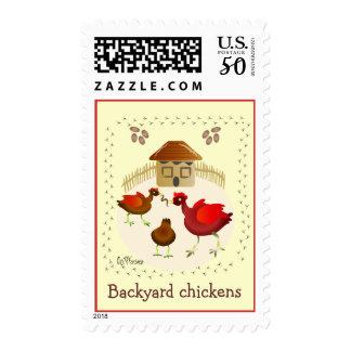 Backyard chickens art Postage