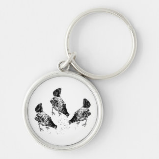 Backyard Chickens Silver-Colored Round Keychain