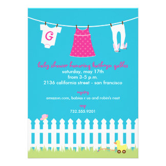 Backyard Clothesline Baby Girl Shower Personalized Invitation