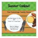 """Backyard Cookout Invitation 5.25"""" Square Invitation Card"""