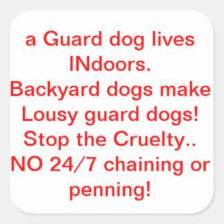 Backyard dogs=Lousy Guard dogs!  No 24/7 chaining! Square Sticker