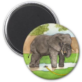 Backyard Elephant 2 Inch Round Magnet