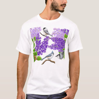 Backyard Garden Birds in Lilacs Shirt
