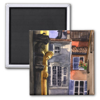 Backyard in Italy 2 Inch Square Magnet