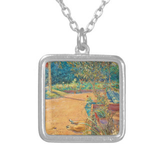 Backyard in the Summer Silver Plated Necklace