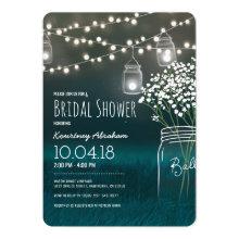 Backyard Mason Jar Baby Breath Bridal Shower Invitations