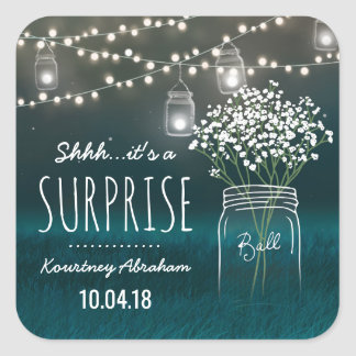 Backyard Mason Jar Baby Breath Surprise Party Square Sticker