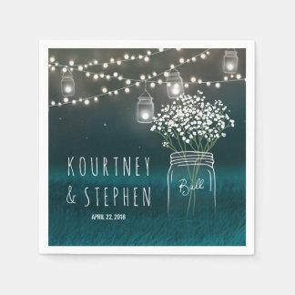 Backyard Mason Jar Baby Breath Wedding | Lights Napkin