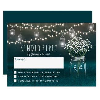 Backyard Mason Jar Baby Breath Wedding RSVP Card