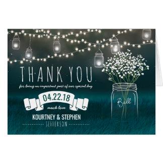 Backyard Mason Jar Baby Breath Wedding Thank You Card