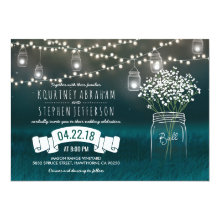 Backyard Mason Jar Babys Breath Wedding | Lights Invitations