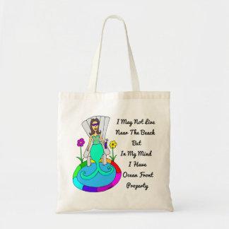 """Backyard Mermaid """"I May Not Live At The Beach..."""" Tote Bag"""