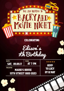movie birthday invitations zazzle