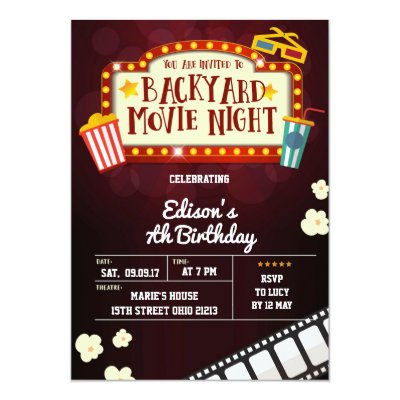 MOVIE NIGHT Birthday Party Invitation Zazzlecom