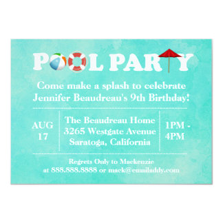 Backyard Outdoor Pool Birthday Party 4.5x6.25 Paper Invitation Card