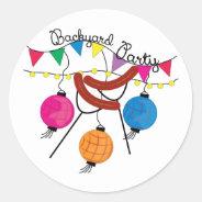 Backyard Party Classic Round Sticker at Zazzle