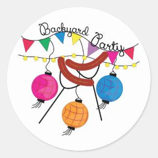 Backyard Party Classic Round Sticker