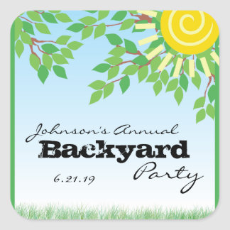 Backyard Party with Trees & Grass Personalized Square Sticker