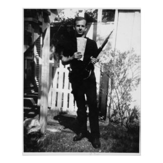 Backyard Photo of Lee Harvey Oswald in March 1963 Poster