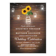 Backyard Rustic Mason Jar Sunflower Lights Wedding Invitations