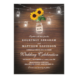 Backyard Rustic Mason Jar Sunflower Lights Wedding Card