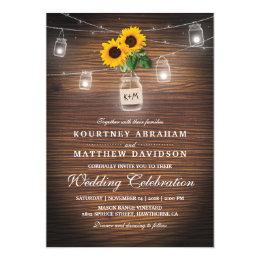 Merveilleux Backyard Rustic Mason Jar Sunflower Lights Wedding Card